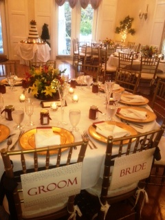 Bride and Groom Chairs and Ballroom